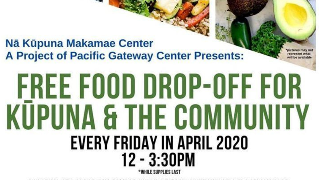 The Nā Kūpuna Makamae Senior Center, Aloha Harvest, and Islands Burgers providing food for our community